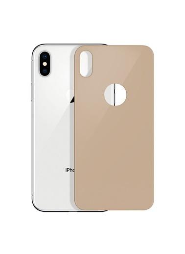 Microsonic Apple iPhone XS Max Arka Tam Kaplayan Temperli Cam Koruyucu Gold Altın